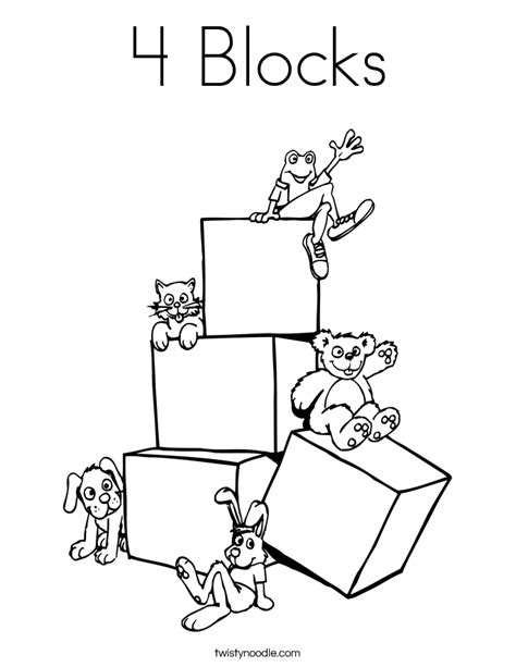 4 Blocks Coloring Page Twisty Noodle Block Coloring Pages
