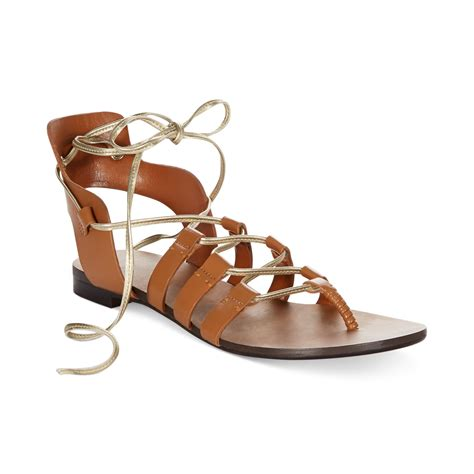 enzo angiolini sandals enzo angiolini myani flat sandals in brown cognac