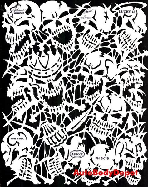 Skull Templates For Airbrushing airbrush template stencil 4 stencils skulls skeletons ebay