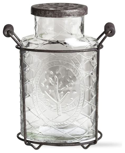 Large Glass Vase With Lid Large Glass Vase With Perforated Lid Traditional