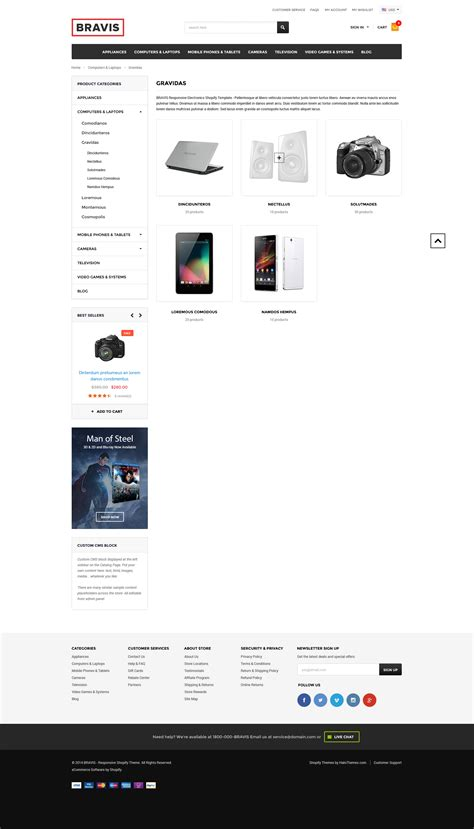 bravis responsive electronics shopify template sections