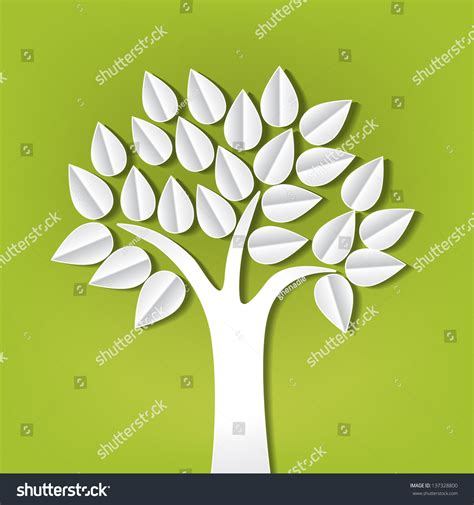 paper made tree tree made paper cut out stock vector 137328800