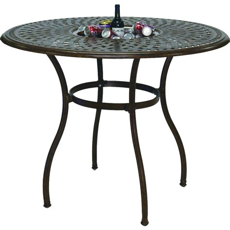 Patio Table Height Darlee Series 60 52 Inch Cast Aluminum Counter Height Patio Bar Table With Insert