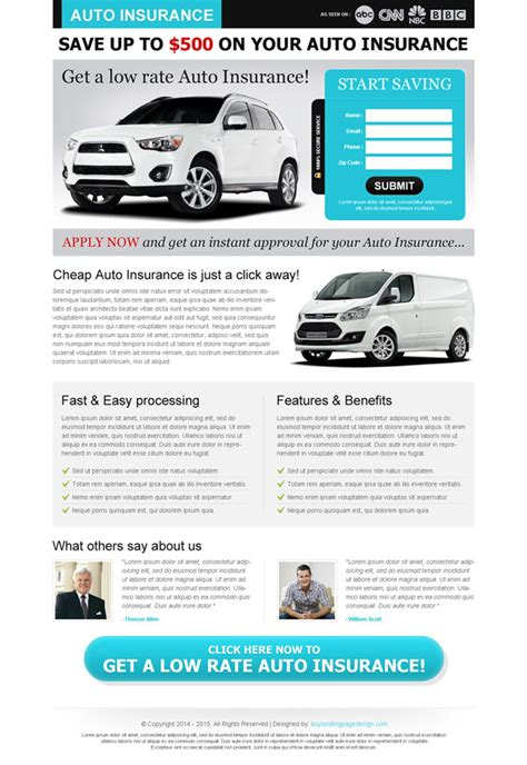 auto insurance landing page designs to improve your conversion