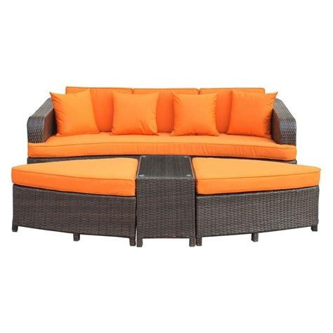 brown and orange sofa modway monterey 4 piece outdoor sofa set in brown and