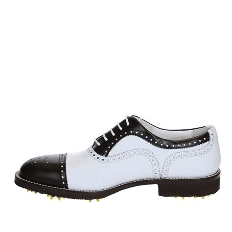 handmade golf shoes white brown leather cap toe