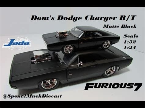 dom s dodge charger r t matte black fast and furious 1 32 1 24