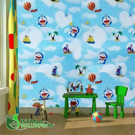 jual wallpaper sticker dinding motif kartun doraemon