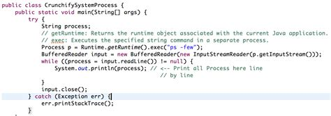 simple flyweight pattern java exle how to get a list of current open processes with java