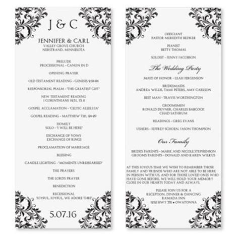 Wedding Program Template Download Instantly Edit Your Wording Nadine Black Tea Length One Page Wedding Program Template 2