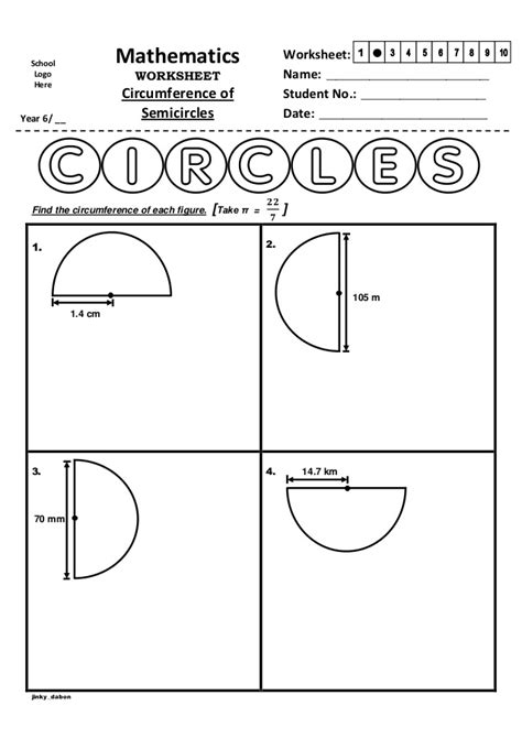 Circumference Of A Circle Worksheet by Year 6 Circumference Of Semicircles Worksheet