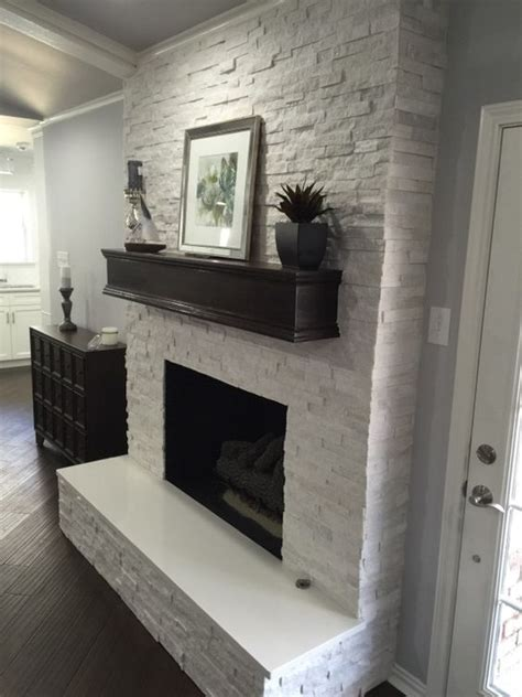 Painting Kitchen Cabinets Off White by Fireplace Makeover Crystal White Quartzite 6x24