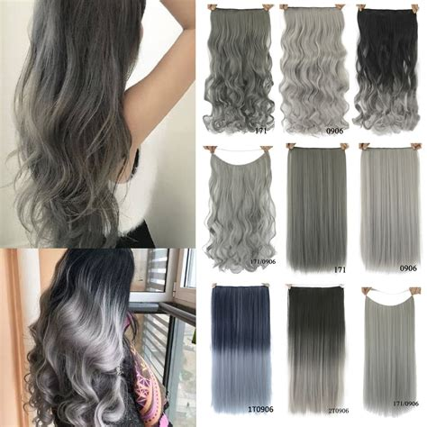 ladies hair pieces for gray hair women hair extension synthetic clip in hair extensions