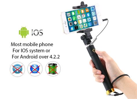 Tongsis Lipat Mini Kabel Utk Hp Android tongsis mini selfie stick black jakartanotebook