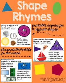 colors and shapes lyrics shape rhymes printables teaching