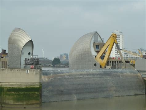 thames barrier walk the thames barrier at low tide note the high tide