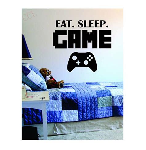 Wall Decor Sleepy 1 boys play room vinyl wall decal eat sleep version lettering words gamer mural wall