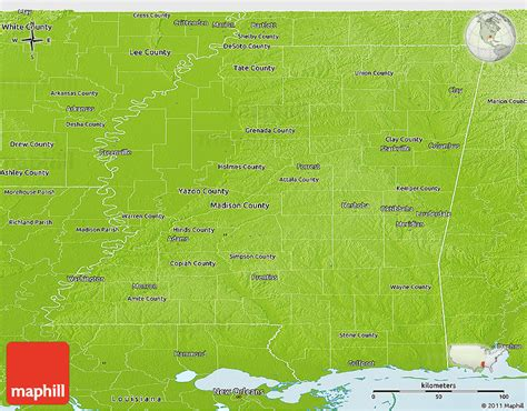physical map of mississippi physical panoramic map of mississippi