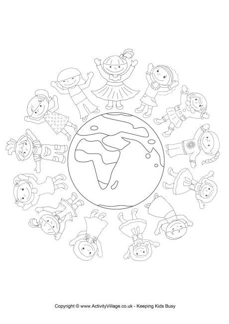 world thinking day colouring page 2