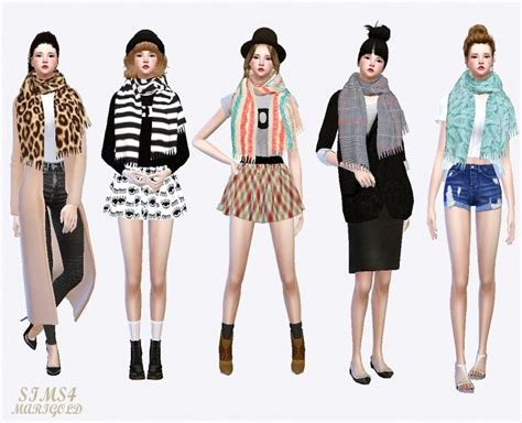 sims 4 clothing for females sims 4 updates female fringe muffler at marigold 187 sims 4 updates