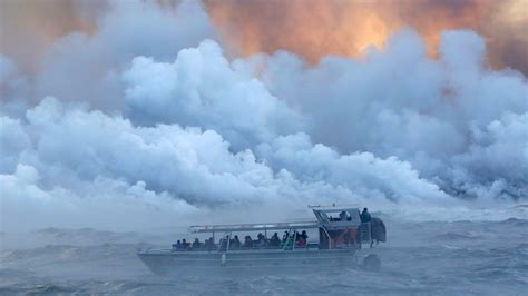 hawaii lava boat tour youtube lava bomb from hawaii volcano hits tour boat injuring