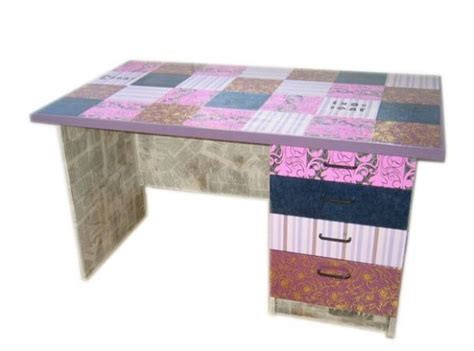 Decoupage Desk - decoupage a desk to cover that plywood surface