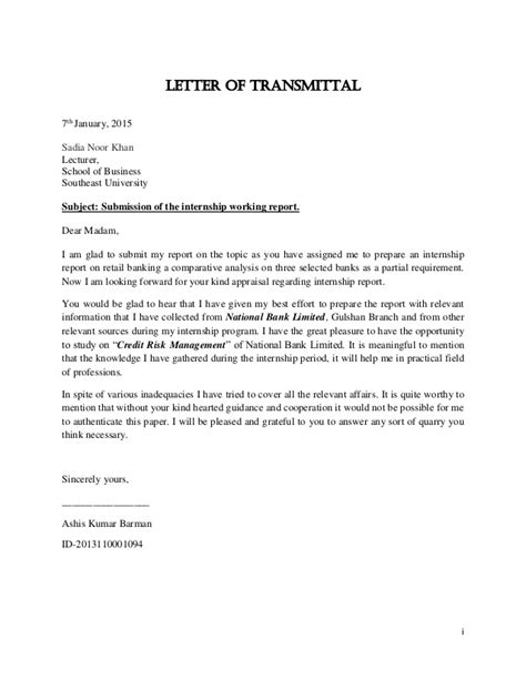 Transmittal Letter For Ojt Credit Risk Management A Comparative Analysis On Three Selected Ba