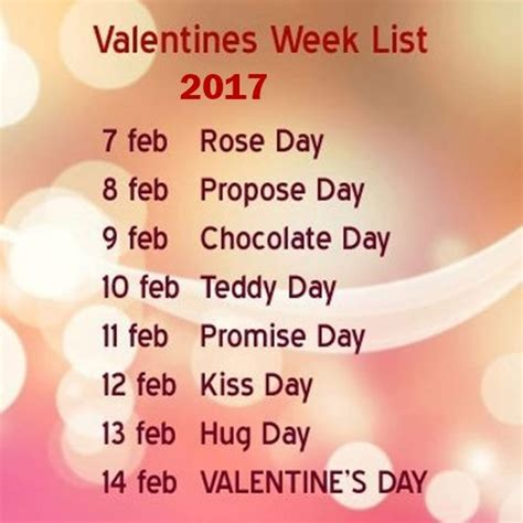 week date sheet 7 to 14 february all valentines day 7 days of