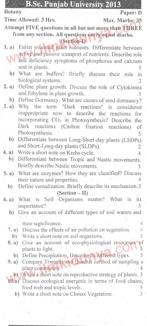 Bsc Essay Notes by Past Papers 2013 Punjab Bsc Botany Paper D