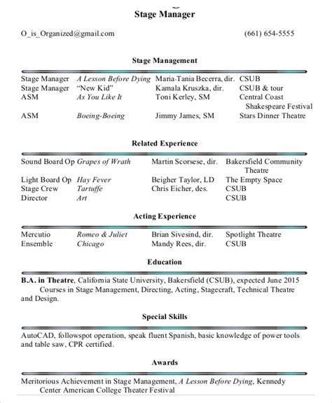 Stage Manager Resume by 25 Printable Resume Templates Pdf Doc Free Premium