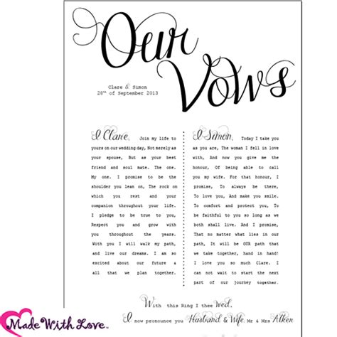 Wedding Vows printed with your personal wording. Perfect