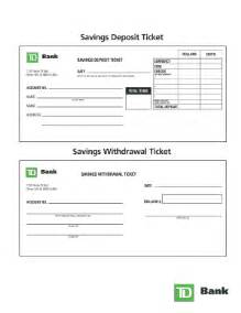withdrawal slip template td bank deposit slip fill printable fillable