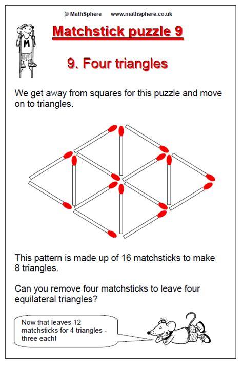 triangle matchstick pattern free maths puzzles mathsphere