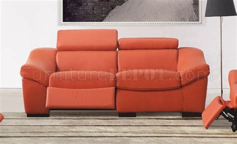 orange leather loveseat 8021 reclining sofa in orange full leather by esf w options