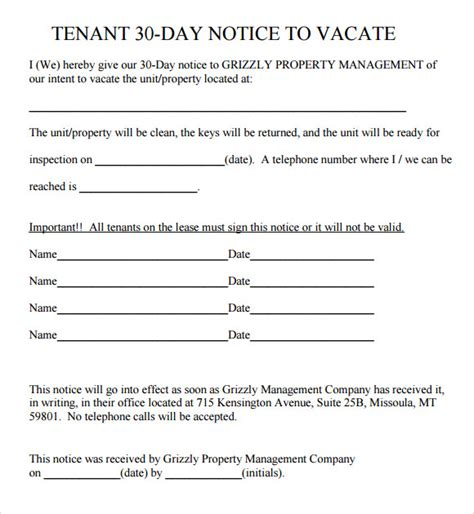 30 day notice to vacate landlord to tenant template sle 30 day notice template 10 free documents in pdf