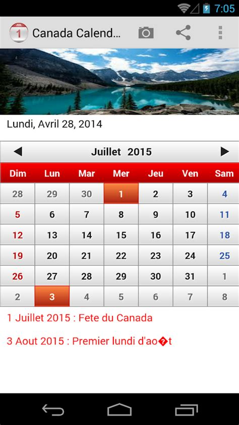 Calendrier 2013 Canada Canada Calendrier 2015 Android Apps On Play