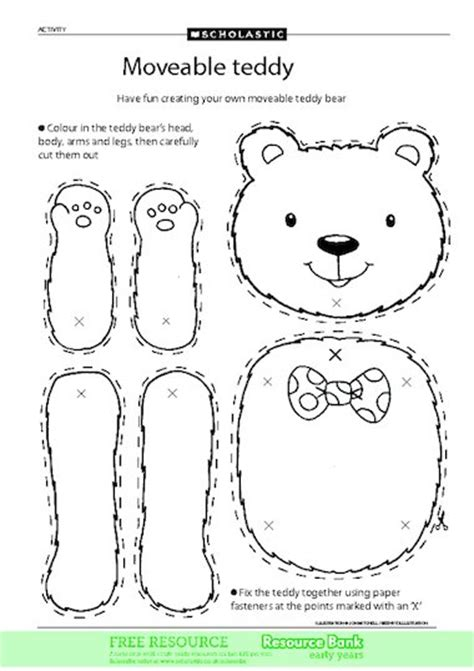 Make Your Own Teddy Template moveable teddy free early years teaching resource