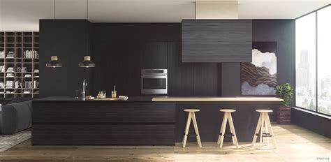 Black Wooden Stools Kitchen by 36 Stunning Black Kitchens That Tempt You To Go For