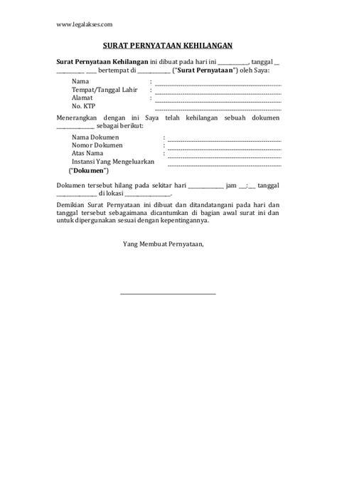 format surat pernyataan kehilangan askes surat pernyataan kehilangan dokumen