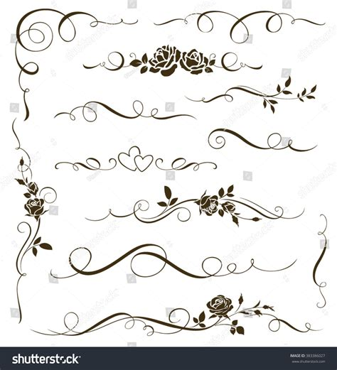 vector wedding design elements and calligraphic page decoration vector set floral calligraphic elements dividers stock