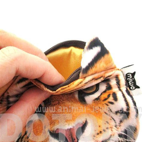 Realistic Tiger Face Shaped Soft Fabric Zipper Photo Print ... Realistic Tiger Makeup
