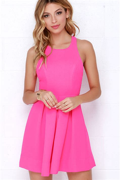 lulu s sexy neon pink dress backless dress skater dress 45 00