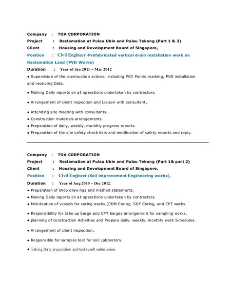 sle resume civil engineer singapore resume ixiplay