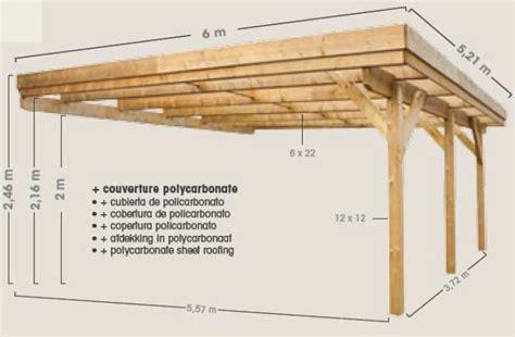 Carport Dimensions by Carport En Bois 224 Adosser Pour 2 Voitures