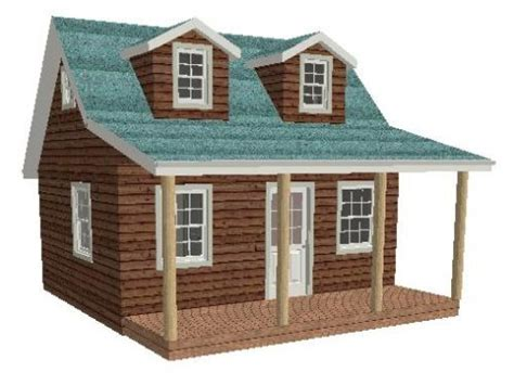 12 x 16 cottage cabin shed with porch plans 81216 ebay 16 by 20 floor plans 16x20 cabin plan with loft 20x20
