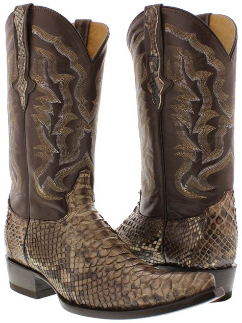 mens cowboy boots pointed toe mens all real brown python snake skin leather
