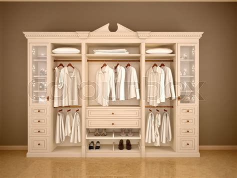 classic wardrobe 3d illustration of light classic wardrobe closet with