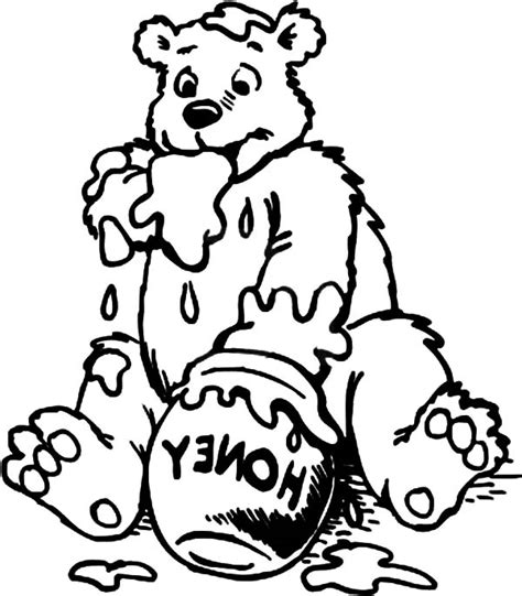 honey bear coloring pages bear and honey pot coloring page coloring pages