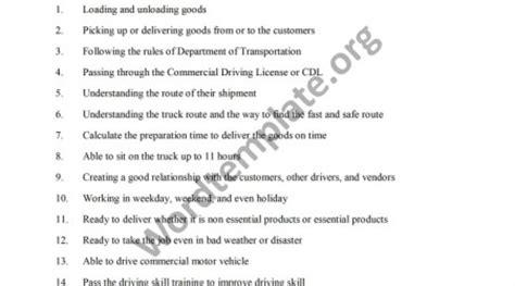 commercial truck driver description mfawriting332