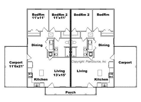 j2070 house plans by plansource inc duplex plan j748 cp plansource inc